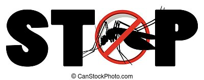 Stop sign for mosquito illustration