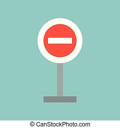 stop sign, forbidden sign, flat icon