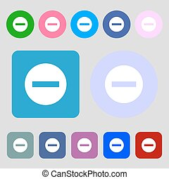 Stop sign icon. Prohibition symbol. No sign. 12 colored buttons. Flat design. Vector