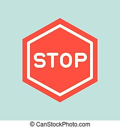 Stop sign icon, traffic icon, flat design vector