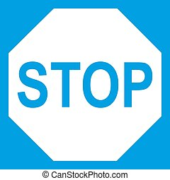 Stop sign icon white