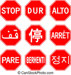 Stop sign in different countries
