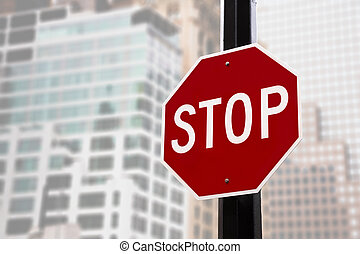 Stop sign in NYC - Stop sign on the street of New York City ...