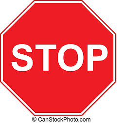 Stop sign isolated on pure white