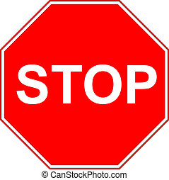 Stop sign isolated on pure white - Vector illustration of...