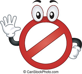 Mascot Illustration of a Stop Sign With its Hand Raised