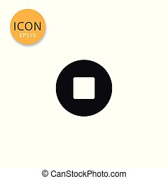 Stop sign media player icon isolated flat style.