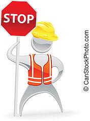 Stop sign metallic man concept