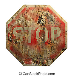 Stop Sign - Old stop sign made in 3d software