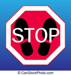 stop sign on a with footprints from shoes