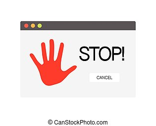 Stop Sign on Computer Screen. Vector Symbol Isolated on White Background.
