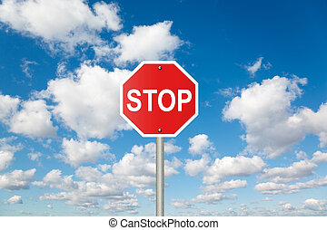STOP sign on White, fluffy clouds in blue sky collage