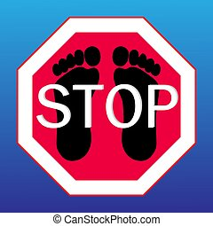 stop sign on with footprints