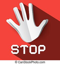 Stop Sign. Palm Hand with Stop Title. Vector Stop Symbol with Paper Cut Hand. Long Shadow Flat Design Stop Icon on Red Background.