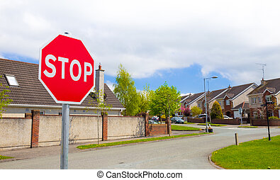 Stop sign situated in a housing area