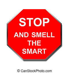 stop sign smart - red stop sign funny phrase clip art poster...