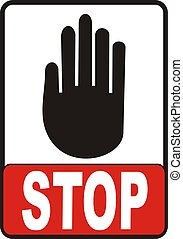 Stop Sign - Hand With Stop Sign vectorial image isolated on...
