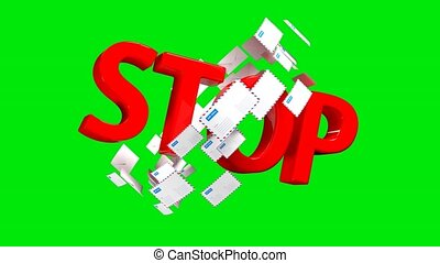 STOP sign symbolizing a ban on a large number of letters or...