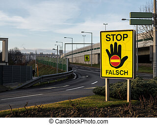 Stop sign to prevent wrong-way drivers on the motorway