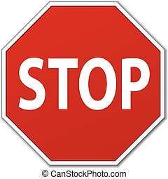 Stop Sign - Vector Traffic Stop Sign Over White Background