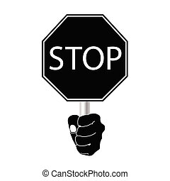 stop sign vector in black