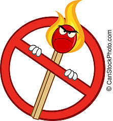 Stop Sign With Angry Match Stick