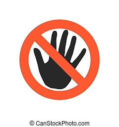 Stop sign with black hand - vector illustration