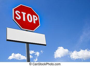 Stop sign with cartel blank