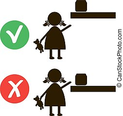 Stop sign with child icon isolated on white background. Children prohibited vector illustration. Kid is not allowed image. Babies are banned. little girl reaches dangerous object household chemicals