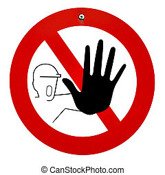 Stop sign with man holding up a hand