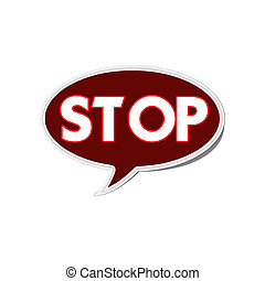 Stop sign with stitch style on fabric background
