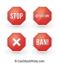 stop sign with various content