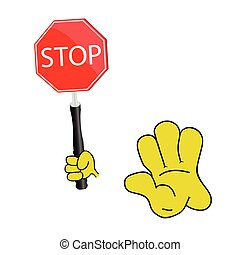 stop sign with yellow hand vector