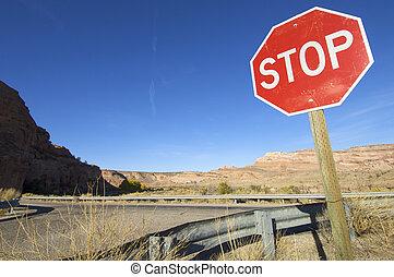 stop signal in a arid landscape near Moab, Utah, Usa