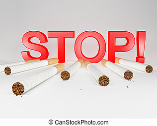 Stop smoking - 7 cigarettes and big red stop sign against ...