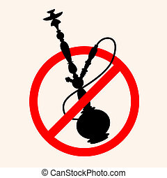 hookah - Stop smoking a hookah, a symbol for the vector