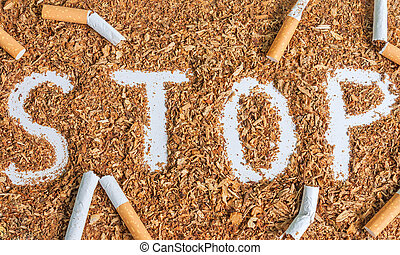 Stop smoking background with tobacco