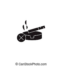 Stop smoking black vector concept icon. Stop smoking flat illustration, sign