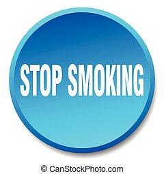 stop smoking blue round flat isolated push button