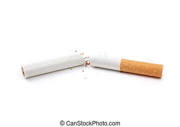 stop smoking - broken cigarette isolated on white background...