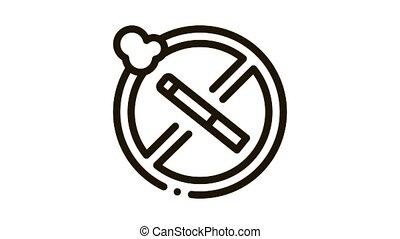 stop smoking cigarette animated icon on white background
