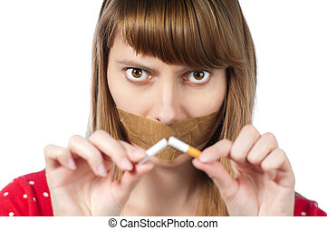 stop smoking concept - Beautiful young woman with sticky ...