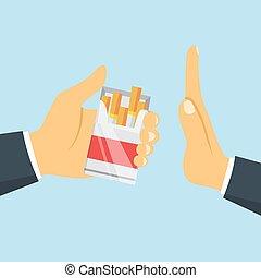 Stop smoking concept. Man hand refuse cigarette