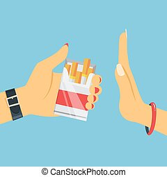 Stop smoking concept. Woman hand refuse cigarette