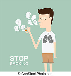 Stop Smoking - man smoking cigarette wearing black lung...