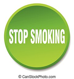 stop smoking green round flat isolated push button