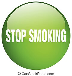 stop smoking green round gel isolated push button