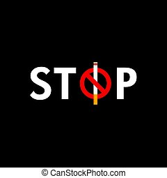 stop smoking icon illustration on dark background