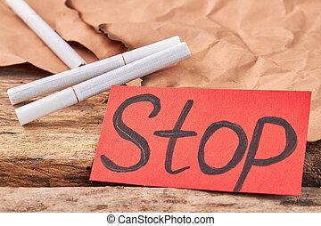 Stop smoking, nicotine is danger.