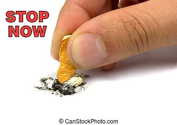 Stop smoking now, on white background